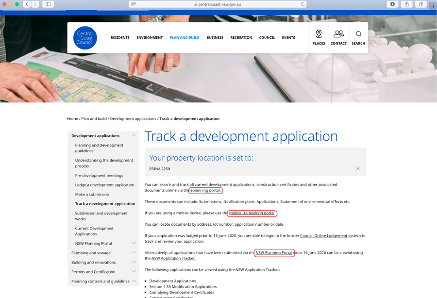 track development application